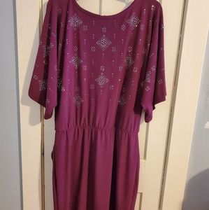 WHBM embellished dress in rich plum